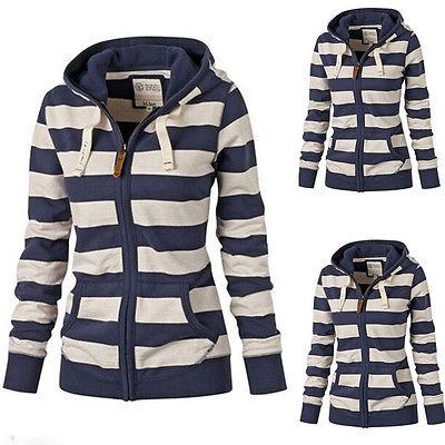 Hot-Women-Striped-Zipper-Hoodie-Sweatshirt-Jumper-Top-Hooded-Pullover-Winter
