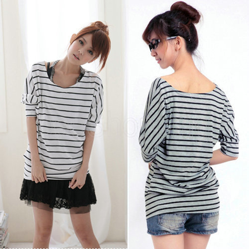 Q395-Hot-Sale-Korean-Women-Ladies-Round-Neck-Half-Sleeve-Batwings-Casual-Striped-Blue-White-Gray